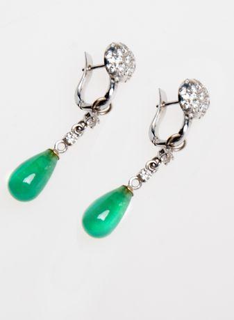 Продам серьги бриллиантовые с красивейшими изумрудами!ВИП