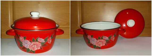 Посуда Кастрюля эмалированная  с крышкой цветная с рисунком 2 литра