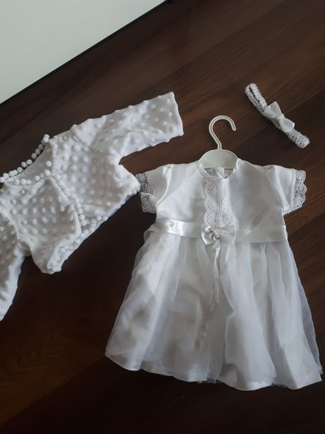 sukienka biała do chrztu elegancka 68 bolerko