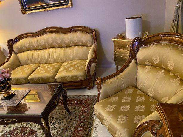 Komplet wypoczynkowy, piękny Włoski zestaw wypoczynek do salonu