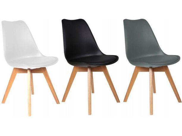 Stół owalny biały bukowy rozkładany + 4 krzesła kubełkowe do salonu