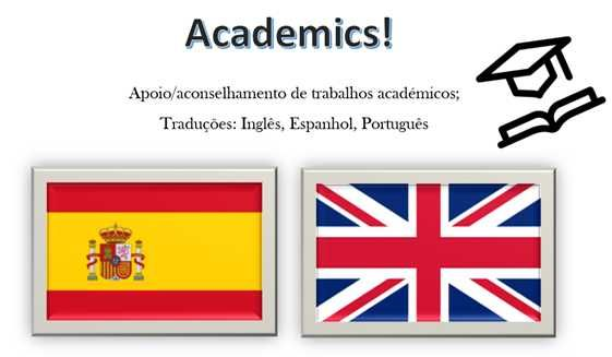 Apoio a trabalhos académicos; Traduções: Espanhol/Inglês