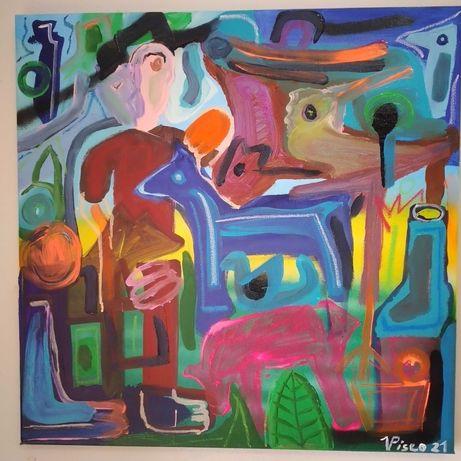 Acrílico sobre tela, 50x50 cm, 2021, título: O pastor e a ovelha rosa