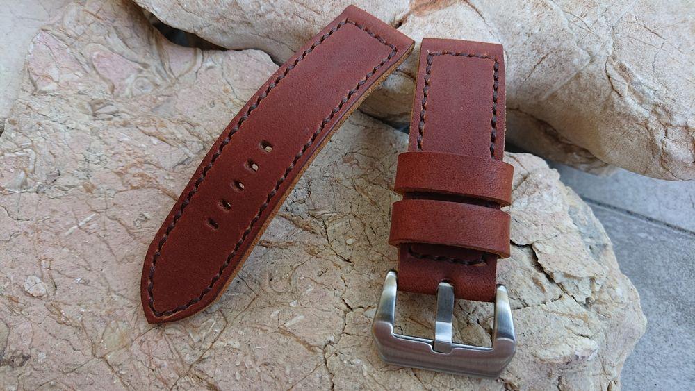 Pasek do zegarka ręcznie robiony 24 mm. Panerai - hand made Milanówek - image 1