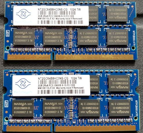 Pamięć RAM SODIMM DDR3 Nanya 2 x 2GB = 4GB PC3-10600s