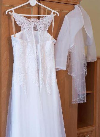 Suknia ślubna roz. 36 wzrost 165cm bolerko + wełon