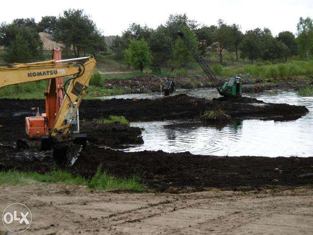 Kopanie odmulanie stawów km 251 koparka linowa