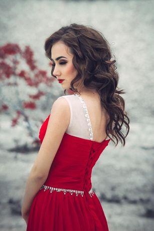 Выпускное платье, красное платье, платье в пол