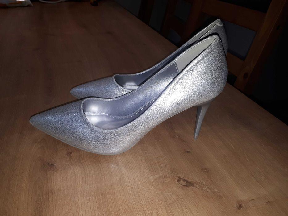 Buty srebrne szpilki na wesele lub ślub, sylwestra, NOWE rozm.40 Łódź - image 1