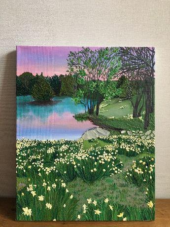 Картина маслом лесное озеро