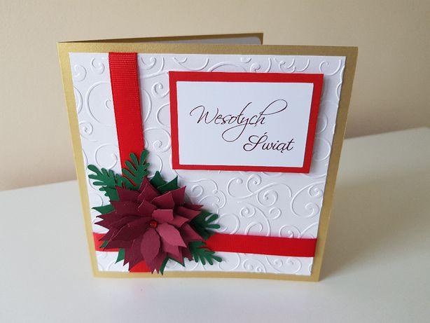 Kartka świąteczna ręcznie robiona, Boże Narodzenie HandMade