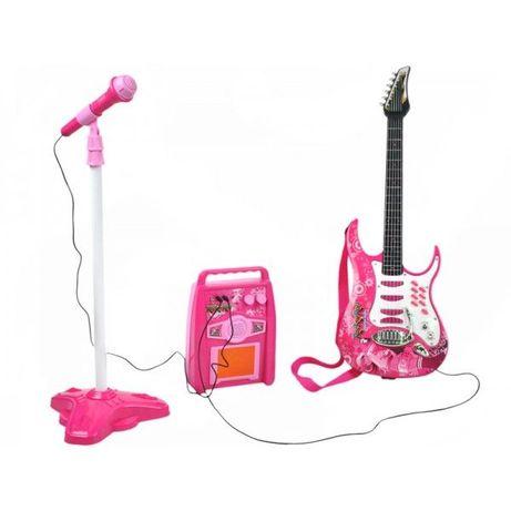 Gitara Elektryczna dla dzieci ze wzmacniaczem +Mikrofon +statyw Z337