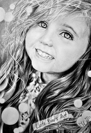 Портрет девочки-мечтательницы. Простой карандаш. Реализм.