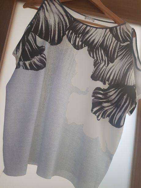 Bluzka koszulka szara błękitna biała zara L 42 40 xl
