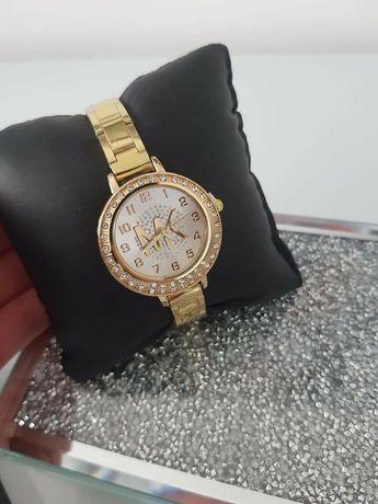 Złoty zegarek Michael Kors bogato zdobiona cyrkonie