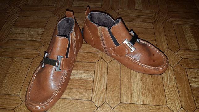 Туфли, полуботинки коричневые кожа 37 р-р 23,5 см состояние новых