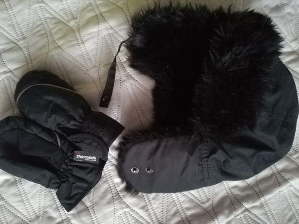 Ciepła czapka uszatka hm thinsulate 86 12-18m z futerkiem czarna