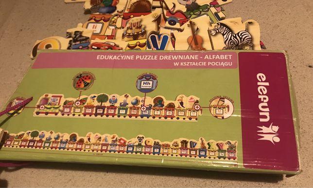 Puzzle drewniane Elefun pociąg alfabet