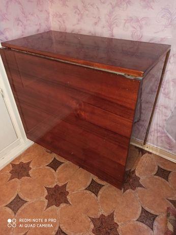 Стол-книжка деревянный полированный/стол тумба раскладной СССР/дерево