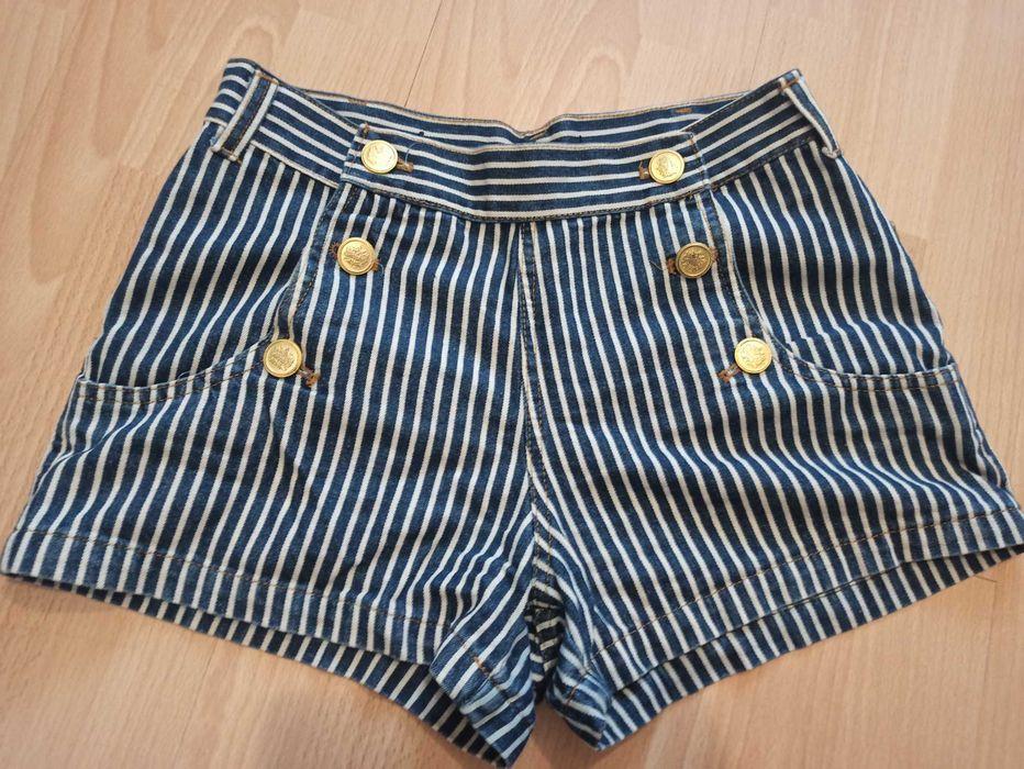 Stylowe Marynarskie spodenki ze złotymi guzikami r. 38 Gliwice - image 1