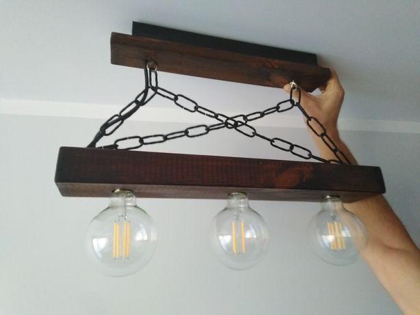 Żyrandol Lampa handmade drewno lakierowane