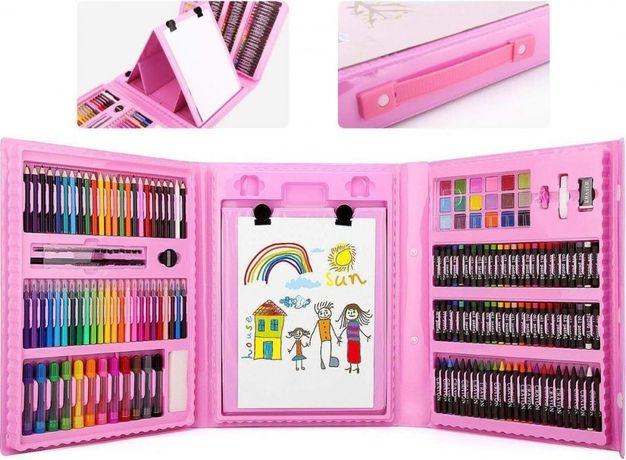 Детский набор для рисования в чемоданчике с мольбертом 208 шт