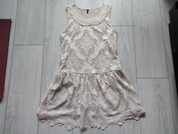 Benetton sukienka M koronka - perły