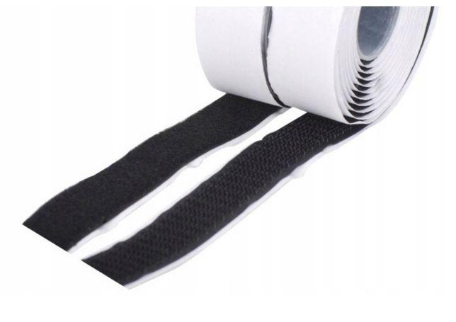Taśma rzepowa 10,5 mb z klejem samoprzylepna szer. 2cm czarna komplet