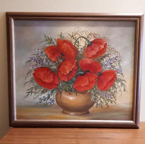 """Obraz olejny, ręcznie malowany na płycie pilśniowej pt """"Maki"""""""