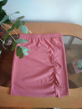 Spódnica brzoskwiniowa z falbaną r. M (38)