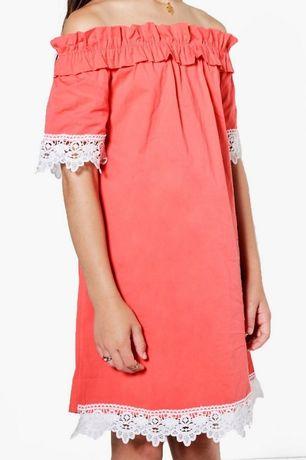 Платье Boohoo 9-10 лет, на плечи с кружевом