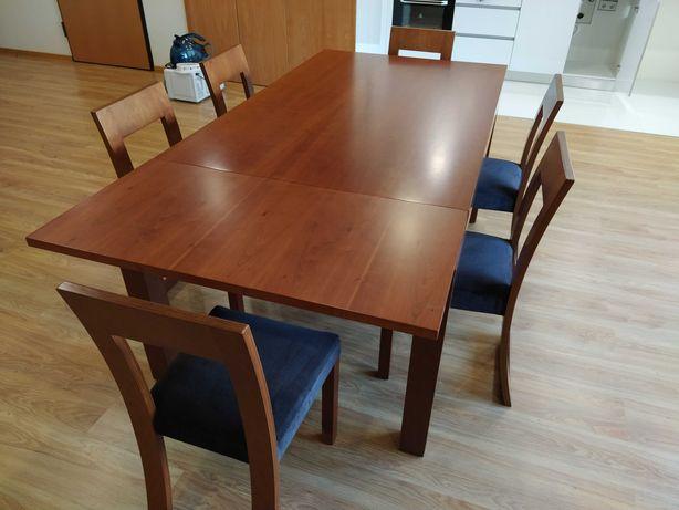 Mesa de jantar grande em madeira de cerejeira com 6 cadeiras