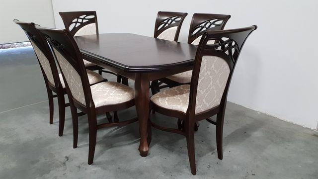 Zestaw Ludwik-6 krzeseł tapicerowanych+stół rozkładany 140 cmPRODUCENT