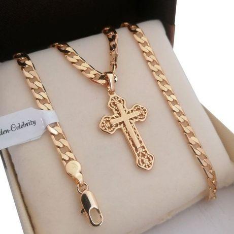 Złoty łańcuszek pancerka 50cm 5mm + Krzyż ażurowy 18 karatów GWARANCJA