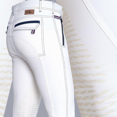 Bryczesy męskie Rhett z kolanowym lejem silikonowym FP r. 48 - białe