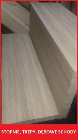Schody, stopnie dębowe, trepy drewniane dębowe lite A/B