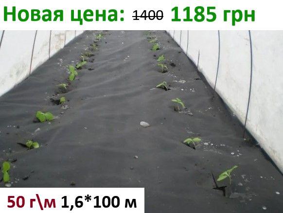 Черное агроволокно для мульчирования клубники 50 г\м 1,6*100 м