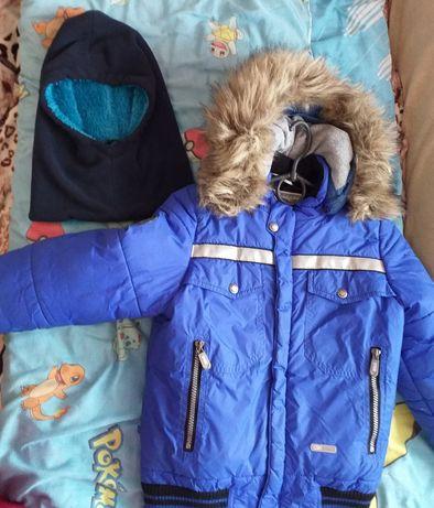 Фирменная куртка, курточка, парка шапка в подарок. Размер 116-122рост