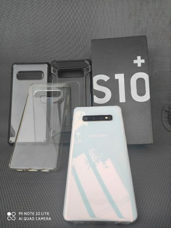 Samsung s10+ white plus 3 etui folia stan bdb