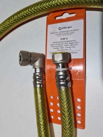 Przewód wąż gazowy elastyczny KOLANO WW 1/2 200cm