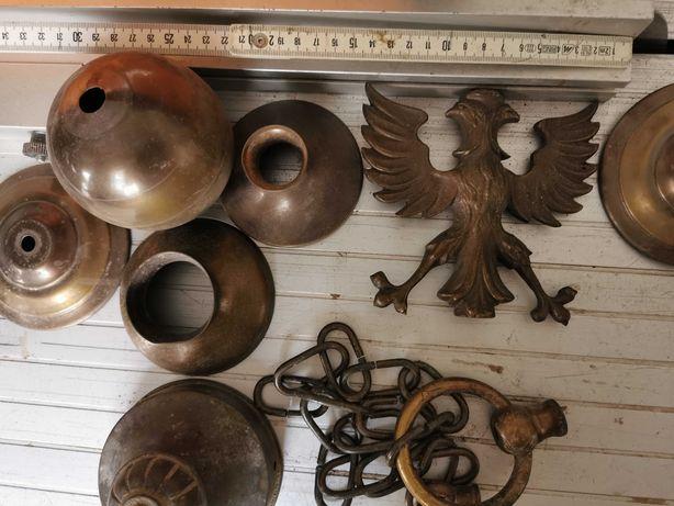 Lampa - Orzeł mosiężny ciężki + Części starej lampy