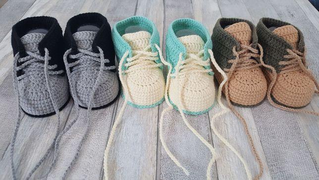 Szydełkowe buciki niechodki, dla niemowląt, 6-9 miesięcy