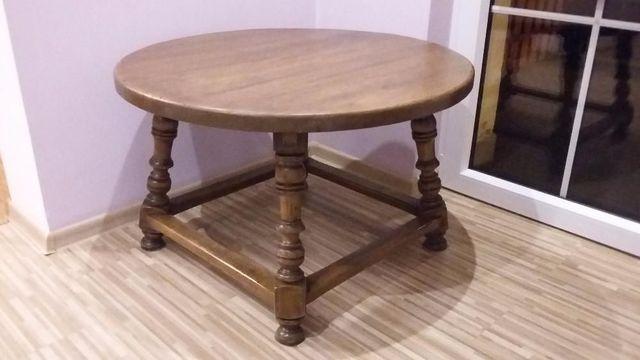 Ława Stół Okrągły Kawowy Drewniany