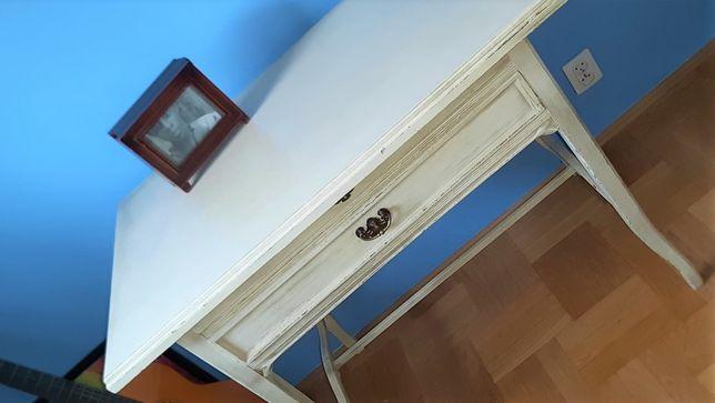 antyk biurko drewno postarzane białe