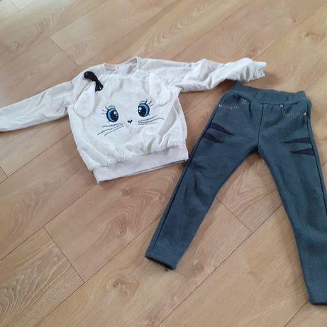 Zestaw ciepłe ubrania spodnie bluza królik