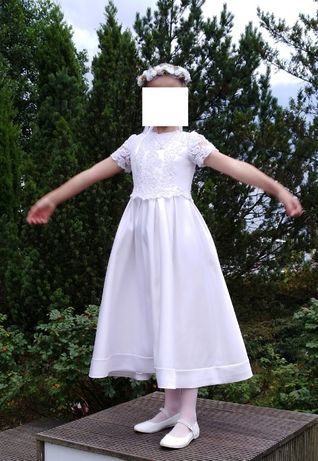 Sukienka komunijna 140-146, wianek, komunia