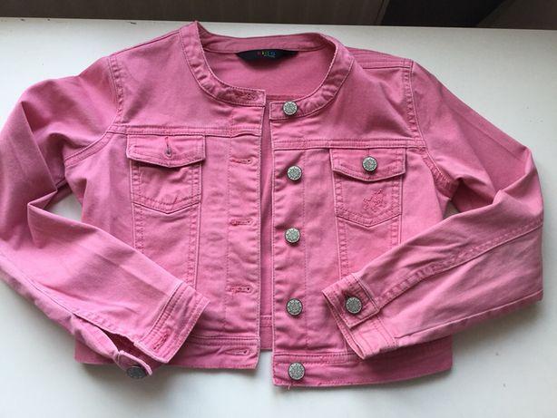 Kurteczka jeansowa cieniutka kolor różowy rozmiar 122/128,