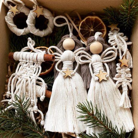 Box ozdoby świąteczne Makrama