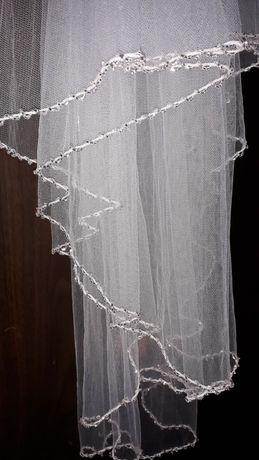 Welon dwuwarstwowy krótki 80 cm biały zdobiony