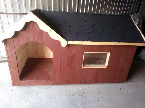 Duza buda dla psa XL z przedsionkiem ocieplana wełna